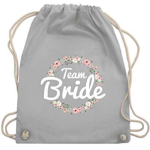 Shirtracer JGA Junggesellenabschied Frauen - Team Bride Blumenkranz - Unisize - Hellgrau - turnbeutel team bride - WM110 - Turnbeutel und Stoffbeutel aus Baumwolle