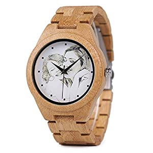 Personalized Customized Wooden Watch for Men Engraved Photo Natural Wood Watches with Adjustable Wristband for Birthday Anniversary Present for Husband Dad Son or Boyfriend