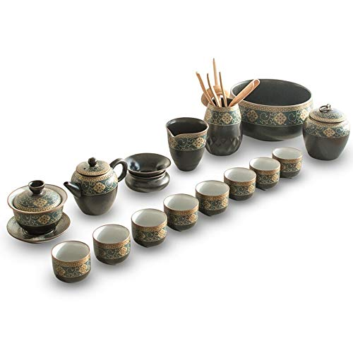 Purchase Tea Cup Set Retro Chinese Style Kung Fu Tea Set Cover Bowl Tea Set For Livingroom Office Gi...