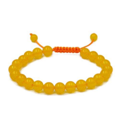 AD Beads Natural 8mm Gemstone Bracelets Healing Power Crystal Macrame Adjustable 7-9 Inch (Yellow Jade)