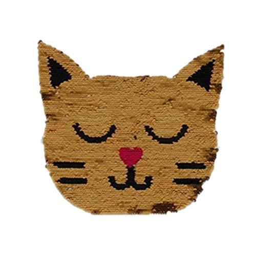 Parches Lentejuelas Parches En Forma de Gato Bordado Dibujos Animados Lindo Reversible Tela Pasta Costura Accesorios de Bricolaje (Cat)