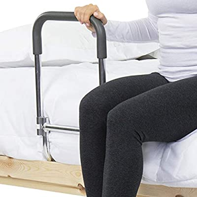 Vive Bed Rail - Compact Assist Railing for Elderly Seniors, Handicap, Kids - Standing Bar Handle with Fall Prevention Guard - Adjustable Bedrail Cane fits King, Queen, Full, Twin - Stability Grab Bar