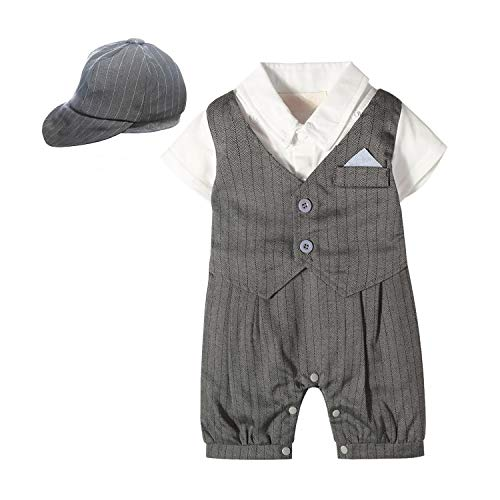 Yilaku Anzug Baby Jungen Gentleman Strampler Hosenträger Strap Kurze Hose Outfits Sets Sommer Kurzarm Hemd und Hose Festliche Kindermode(Grau,6-9 Monate)