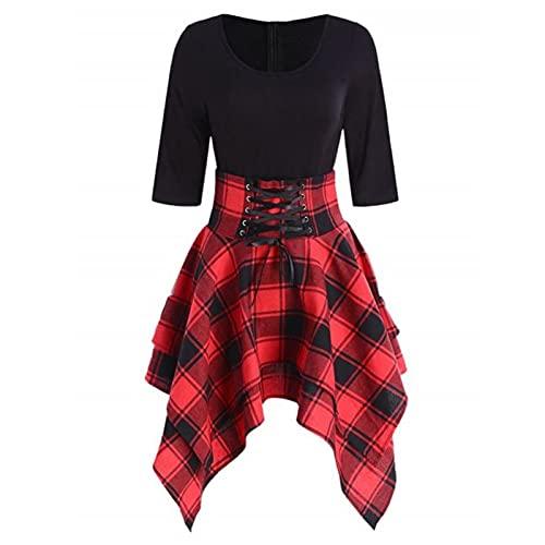 YYCHER Vestidos para mujer, estilo punk gótico, a cuadros, con encaje, vestido de manga corta, vestido irregular, de verano, talla grande (color: rojo, tamaño: XL)