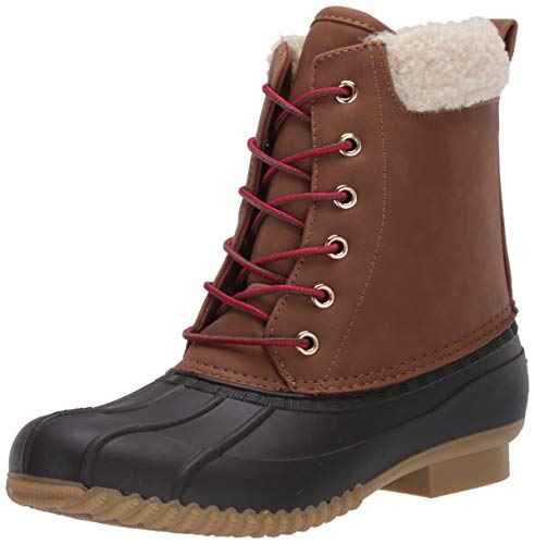 Tommy Hilfiger Women's RUSSELS Rain Boot, Brown Multi, 6