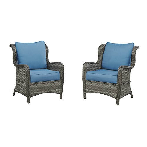 Ashley Furniture Signature Design - Abbots Court Outdoor Lounge Chair with Cushions - Set of 2 - Wicker - Blue & Gray