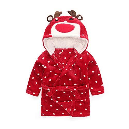 Kinderen winterbadjas hoodie capuchon gewei badhanddoeken zachte ademende nachtkleding cartoon punt lange mouwen saunamantel met heupriem - strand douche geschenk zwemmen voor 3-8 jaar