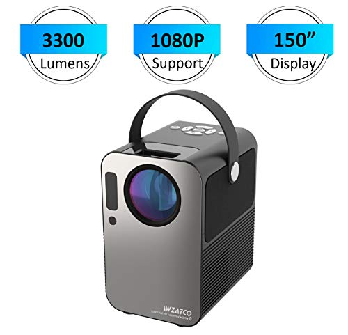 WZATCO M6 HD 720P (1080P Support) | 3300 lumens 390 ANSI Cinema Portable LED Projector Bluetooth 5.0 HDMI USB Compatible with TV Stick (M6 Grey)
