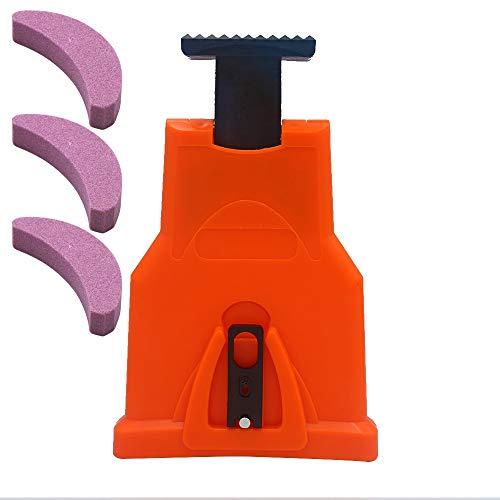 GAOHOU Kettensägen-Sägezahnschärfer-Kit, Holzbearbeitungssägekette Selbstschärfende Schnellschleifkettenwerkzeuge für die 16.12.18/20 Zoll-Kettensäge (mit 3 Bonus-Schleifkettensteinen)