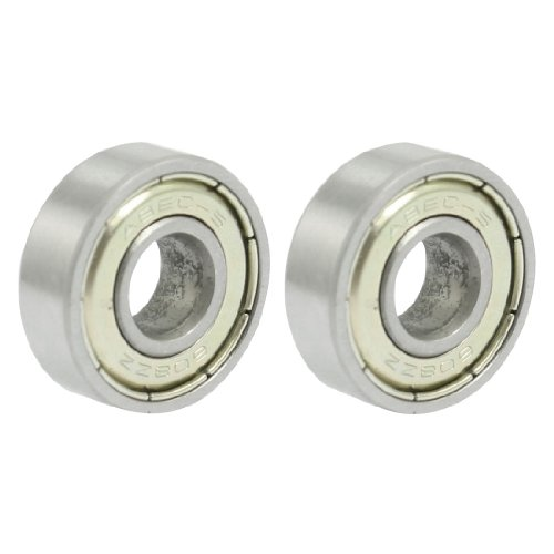 """uxcell 035831 2 x 608ZZ 8 x 22 x 7mm Shielded Deep Groove Radial Ball Bearing, 0"""" ID, 4"""" Width Shielded (Pack of 2)"""