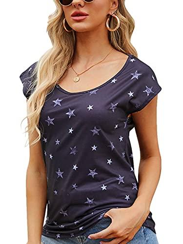 YOINS T-Shirt Damen Shirt Oberteile Sexy Oberteil für Damen Tops Langarm Sommer Herbst Rundhals mit Sterne (M, Neu-Schwarz)