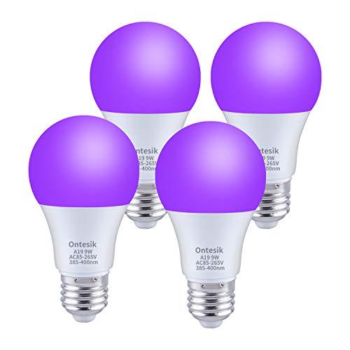 Ontesik LED UV Black Lights Bulbs, 9W A19 E26 Bulb, 385-400nm, Light Bulb for Blacklight Party, Fluorescent Poster,Body Paint, Halloween, Neon Glow, (4 Pack)