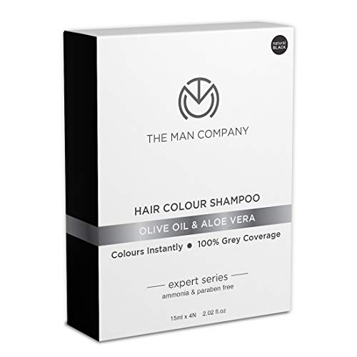The Man Company Hair Colour Dye Shampoo Black | Enriched with Olive Oil & Aloe Vera | Ammonia & Paraben Free | Pack of 4 | Hair Dye For Men