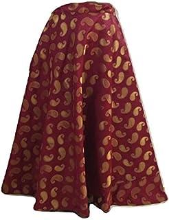 SNEH Women's Brocade Paisley Print Skirt (Maroon,Free Size)