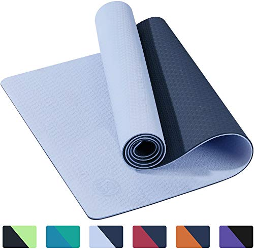 IUGA Yoga Mat Non Slip Textured Surface, Reversible Dual Color, Eco Friendly Yoga Mat with Carrying Strap, Thick Exercise & Workout Mat for Yoga, Pilates and Fitness (72'x 24'x 6mm)