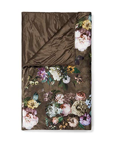 ESSENZA Quilt Fleur Blumen Pfingstrosen Tulpen Polyester Chocolate, 220x265 cm