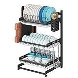 Organizador de acero inoxidable negro de 3 niveles para secar platos, frutas y verduras, cesta de almacenamiento con escurridor y 3 ganchos para colgar utensilios de cocina
