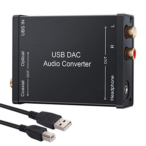 LiNKFOR USB DAC 音声変換機 USB入力 光 同軸 RCA 3.5mmヘッドフォン出力 USBサウンドカード USBケーブル付属 Windows XP/Mac OS-X /PS4 /PS3 /Xbox 360 /Xbox One S対応