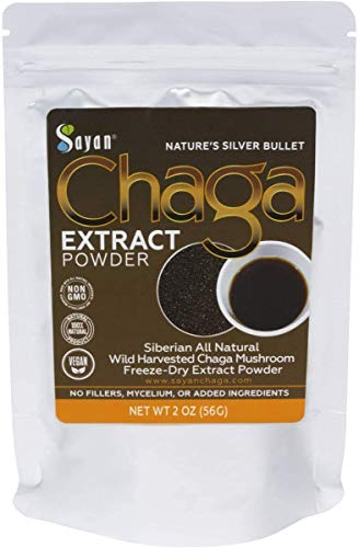 Sayan Siberian Wild Fresh Chaga Mushroom Extract Powder 2oz / 56g Organic Antioxidant Tea Energy Booster, Immune System Support, Promote Digestion, Focus Clarity Supplement. Use for Instant Coffee Mix (Packaging may vary)