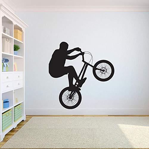 Fiets muur sticker freestyle crossmotor buitensporten gepersonaliseerde tiener jongen slaapkamer woonkamer woondecoratie vinyl sticker 42x42cm