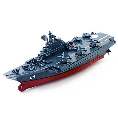 wivarra RC Boat 2.4GHz Telecomando Nave Portaerei Nave da Guerra Battleship Cruiser Barca Ad Alta velocità RC Racing Toy Blu Scuro