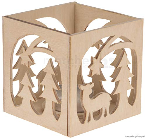 matches21 Windlicht Weihnachten Laubsägevorlage als Holz Bastelset Vorlage Laubsäge für Kinder ab 9 Jahre
