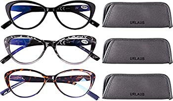 URLAUB Cat Eye Reading Glasses for Womens - 3 Pack of Blue Light Blocking Readers +1.0 Spring Hinge Vintage Computer Eyeglass Leopard Pattern Design