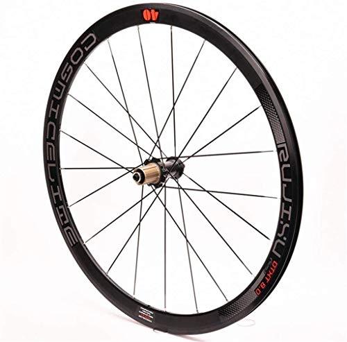 TYXTYX Rueda Trasera de Bicicleta 700c Buje de Tarjeta de Carbono QR Llantas de Doble Pared de 8-11 velocidades Rueda de Bicicleta de Carretera de 40 mm C/V- Neumáticos de rodamiento sellados con
