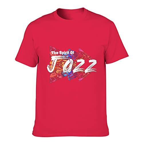 Herren Baumwoll-T-Shirt Spirit Jazz locker geschnitten Runder Ausschnitt - Unterhemden für Freizeit red1 5XL