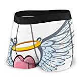 Men's Boxer Briefs,Angelic Love Valentines Day Winged Heart Tattoo Style Eros Attraction,XL