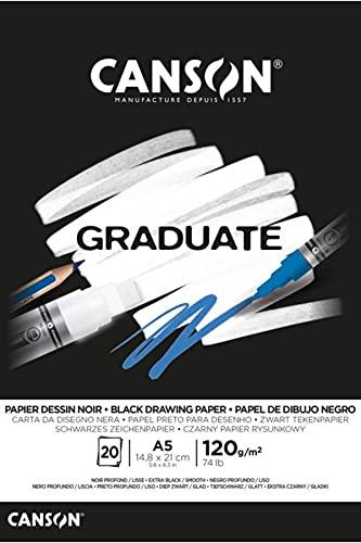 Canson Graduate Black Fino 120g Bloc Encolado A5 20H Negro