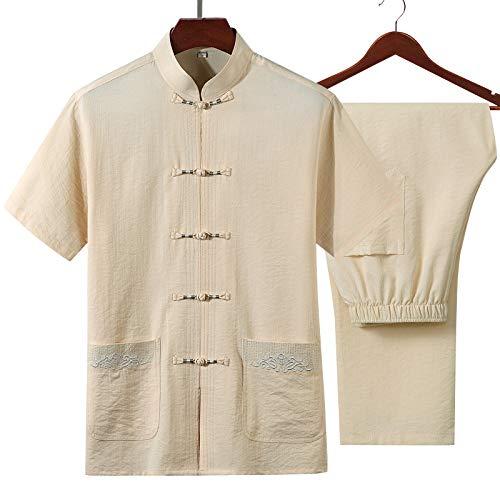 XLYAN Vêtements Uniformes Tai Chi Costume De Style Chinois Costume De Chemise à Moitié Manches Coton Et Lin Hommes,Beige-XXL