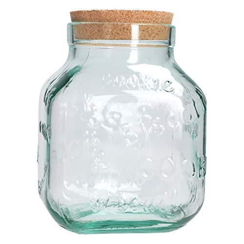 MamboCat Cookie-Glas XL I Keksdose + Naturkork-Deckel I Set I 3,1 Liter I Keks-Schriftzüge Dekor I Mega Vorratsdose I Recycling-Glas I Aufbewahrung