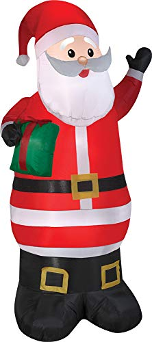 Gemmy Animated Airblown Santa with Present Prop Christmas Decor Decoration