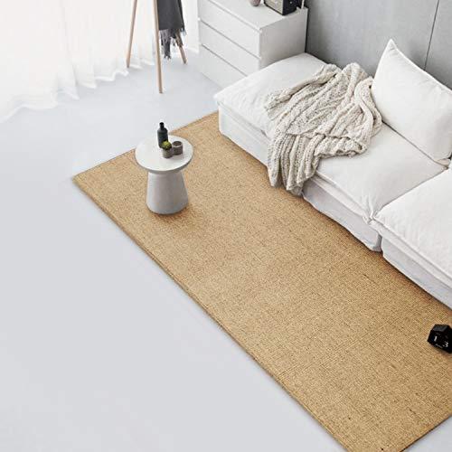ybaymy 300 x 80 cm Sisal Teppich Läufer Kratzteppich, Naturfaser Sisalteppich Kratzmatte mit Anti-Rutsch-Unterlage Soft Touch Dickflor, für Wohnzimmer Schlafzimmer Küche - Beige