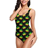 YongColer Women's Marijuana Weed One Piece Swimsuits Backless V Neck Monokini Retro Boho Bathing Suit Slimming Swimdress for Bathing Swimming