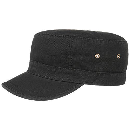 Lipodo Urban Army Cap Damen/Herren - Schirmmütze aus 100% Baumwolle - Armycap L/XL (58-X-Large) - Mütze in Schwarz - Größenverstellbar
