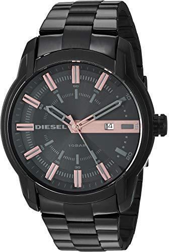 Relógio masculino analógico de quartzo com pulseira banhada a aço inoxidável, preto, 22,6 (modelo: DZ1767) da Diesel.