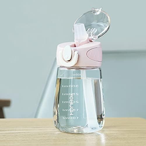 GHJGHJ Botella de Agua de Material de tritano de 400 ml con Lindo a Prueba de Fugas BPA Botella de Bebida plástica Duradera. (Capacity : 400ml, Color : Pink)