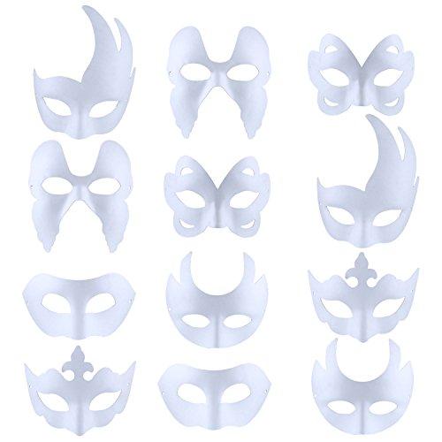 Weiße Maske, Outgeek 12pcs Maske Unlackiert Maskerade Maske DIY Dekoration Venezianischen Karneval Cosplay Kostüm Kindertag Geschenk für Kinder Frauen Männer