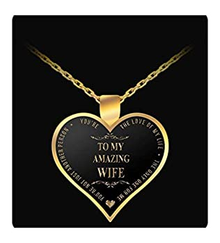 Uncle Seal Gold Color Chain Necklace - to My Amazing Wife - Heart Shaped Pendant - Love of My Life