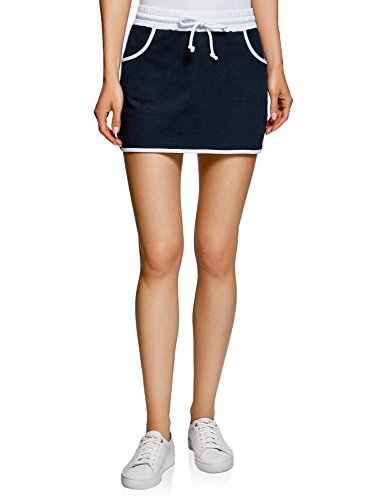 oodji Ultra Mujer Falda de Punto con Cintura Elástica, Turquesa, ES 36 / XS