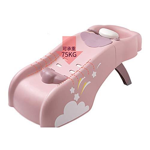 JUNJP Pink Children's Shampoo Recliner, Faltbare Kindermöbel, 4 Dateien verstellbare Shampoo Chair Bett, für Säuglinge, Neugeborene, Kleinkinder, Kinder