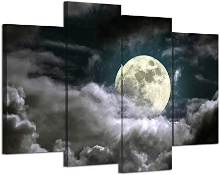 HOMEOART Full Moon in Night Canvas Wall Art Nature Landscape Canvas Painting Giclee Prints Framed product image