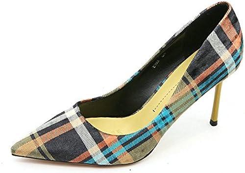 YMFIE Europa Elegante Color coincidente Enrejado Acentuado Tacones Altos Sexy Moda Stiletto Solo zapatos zapatos de Trabajo