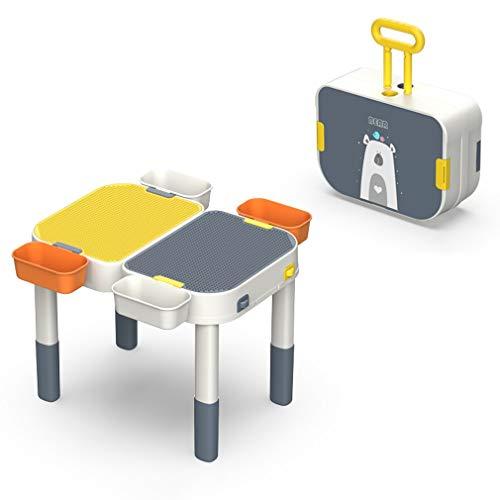Blocks Table And Chair Set Juego de Mesa de Aprendizaje Multiusos con 4 Cajas de Almacenamiento, 384 Bloques de Juguete y 1 Silla