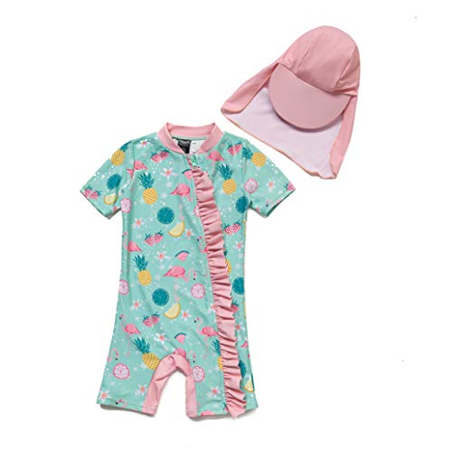 BONVERANO Baby Mädchen Badeanzug EIN stück Kurzärmel-Kleidung UV-Schutz 50+ Badekleidung MIT Spitze Reißverschluss(Pink Bird,6-9m)