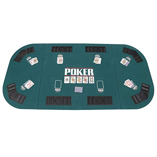 ZenStyle Folding Poker Table Top Tri-Fold Texas/Blackjack/Poker Casino Cover Mat Layout Card Travel Set wth Cup Holder and Chip Rack,Green,for Eight People