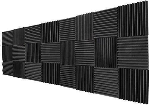 Mybecca 24 Pack Acoustic Panels Studio Foam Wedges Charcoal 1' X 12' X 12'