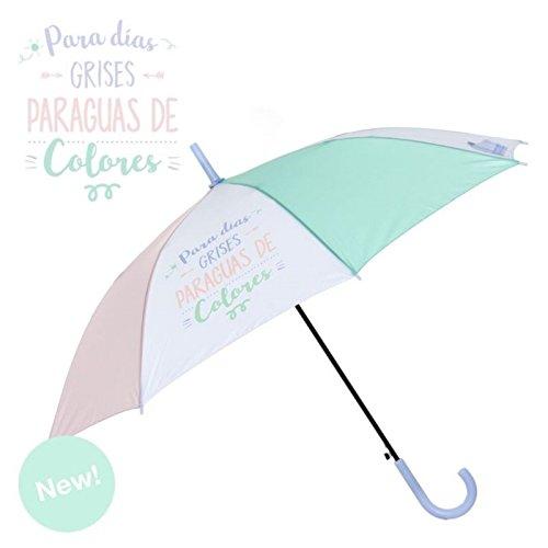 Dcasa - Paraguas Largo Original Colores Pastel para DIAS Grises Paraguas Colores